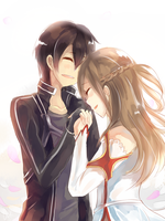 Kirito and Asuna by WingedKcat