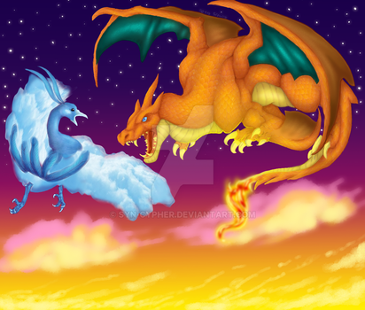 Dragons at dusk. by Syn-Cypher
