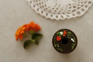 Strawberry Wooden Spool Close Up by TransientArt
