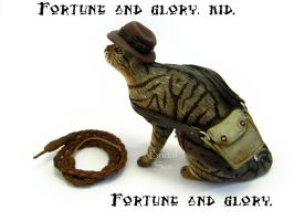 Indiana Jones cat sculpture by brutalsunstudio