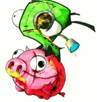 Zombie Gir and pig by DJSIC