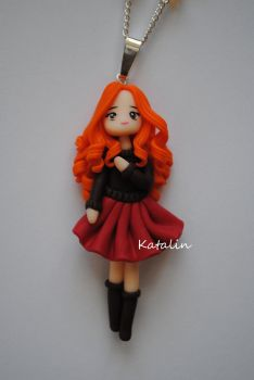 Ginger  chibi polymer clay doll by KatalinHandmade