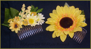 Sunflower Hair Combs by sparx222