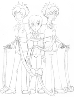 WIP: Twins+Haruhi Christmas by Lavender-Star