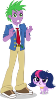 Flipside Spike and Twilight - EQG Style by punzil504