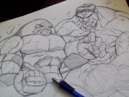 Juggernaut V Hulk warm up sketch by DamageArts