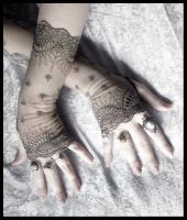 Bianca Long Lace Fingerless Gloves by ZenAndCoffee