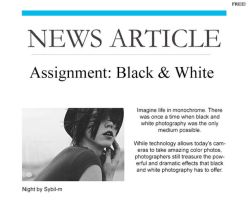 Assignment: Black + White by Kel-----Bel