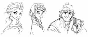 Drawing Elsa, Anna and Kristoff  by Spartandragon12