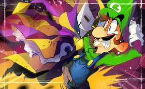 Dimentio and Luigi by hakkasm