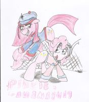 Pinkie and Cyborg Pinkamena by Foshi64