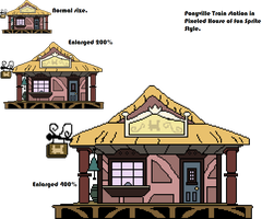 Pixeled House of Fun Style Ponyville Trainstation. by Askre5