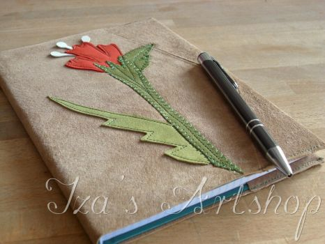 Beige Nubuck Covered Notebook with a Red Flower by izasartshop