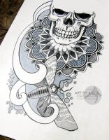 Skull, dotwork, ornamental. Tattoo sketch. by AsikaArt