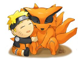 Naruto and 9 tail - chibi by flowerhhh