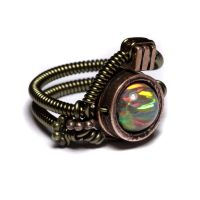 Steampunk Brown Lab Opal Ring by CatherinetteRings