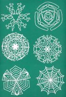 Mini Paper Snowflakes by ChimeraDragonfang
