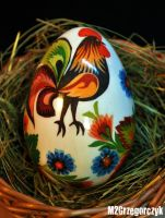 Decoupage Easter Egg Rooster by M2Grzegorczyk