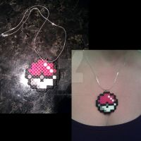 Pokeball Perler Necklace by FallenAngelKrisi