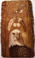Eagle with dream catcher - Pyrography by CarloFerrario1954
