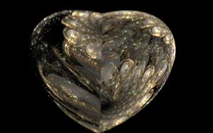 Heart jewelry with gold and pearls by iside2012