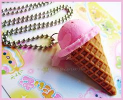 Strawberry Ice Cone Necklace by cherryboop