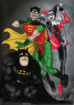 Harley Quinn Vs Batman and Robin by nicetarget