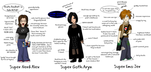 A Nerd, a Goth, and an Emo Kid by cloudedjudgement