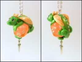 Green Dice Dragon w/ Sword on Peach D20 - Necklace by Euphyley