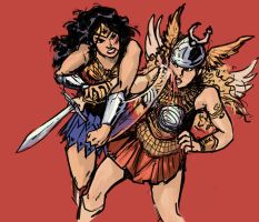 Wonder Woman vs Gundra by MK01