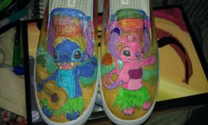 stitch and angel hula shoes by IamKira69
