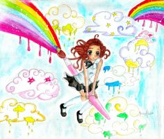 . painting the sky . by Yumi---Chan