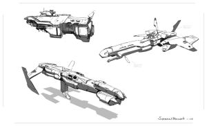 space ship concept sketches by sonobeno