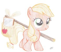 Applejack as Filly by Fatfighterfriedi