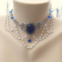Regal Tudor Blue Cabochon and Pearl Choker by shambleramble