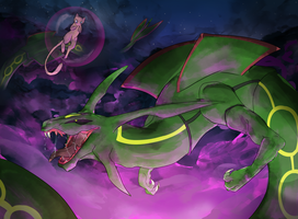 rayquaza vs mew by Appletail