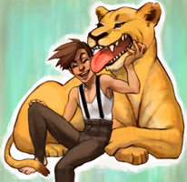 Lion and Tamer by Leerer-Raum