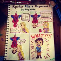 Spider Man and Rapunzel by AbbyCatWolff