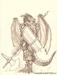 Dragon Anthro Warrior by RussellTuller