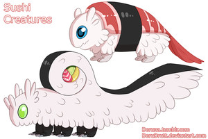 FoodWorld - Sushi creatures by DoruDrutt