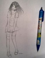 School Girl Sketch by Aquamarine-Drop