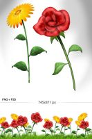 Free Flowers Yand R color by imonedesign
