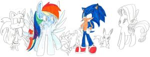 Dashie and Sonic by cadpig1099