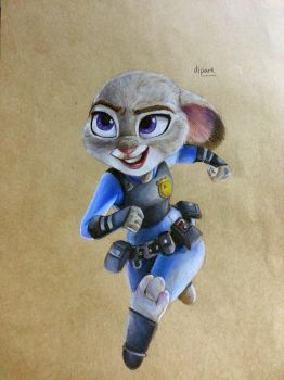 Zootopia Judy Hopps fan art with colorpencil by KR-Dipark