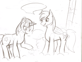 TwiDash In The Clouds - sketch by The-Rabid-Brony