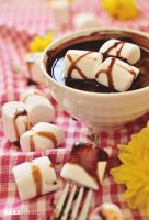 Marshmallows and Chocolate Syrup by daxxbondoc