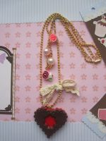 Heart Cookie Dangling Necklace by AngelicLight100