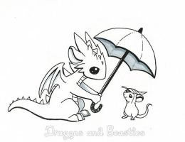 Inktober: Rain by DragonsAndBeasties
