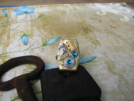Steampunk Ring Square Vintage by bcainspirations