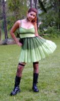 Green tattered fishnet dress by funkyfunnybone